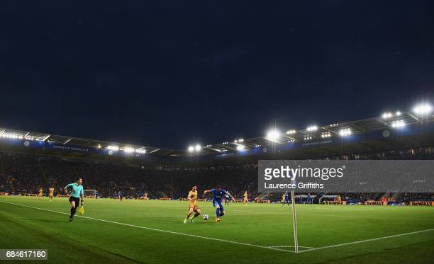 A general view as HeungMin Son of Tottenham Hotspur and Christian Fuchs of Leicester City battle for the ball during the Premier League match between...
