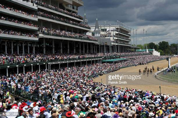 A general view as horses cross the finish in a morning race prior to the 143rd running of the Kentucky Derby at Churchill Downs on May 6 2017 in...
