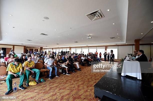 A general view as IAAF General Secretary Essar Gabriel IAAF president Lamine Diack Mayor of Santiago de Cali Rodrigo Guerrero Velasco and President...