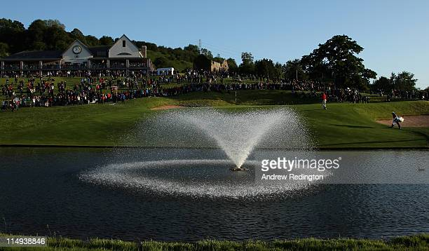 A general view as Ian Poulter of England walks onto the 18th green during the PowerPlay Ignition Golf on the Twenty Ten Course at the Celtic Manor...