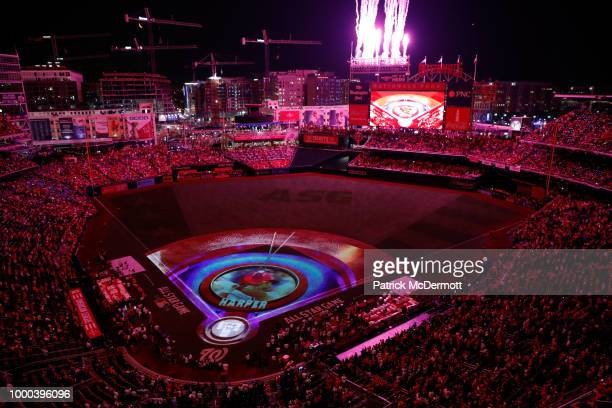 A general view as images are projected on the field during the TMobile Home Run Derby at Nationals Park on July 16 2018 in Washington DC