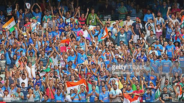 A general view as Indian fans in the crowd cheer as India hit a boundry during the 2015 ICC Cricket World Cup match between South Africa and India at...