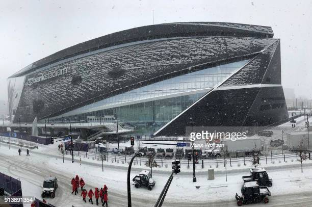 A general view as it snows of the exterior of US Bank Stadium on February 3 2018 in Minneapolis Minnesota Super Bowl LII will be played between the...