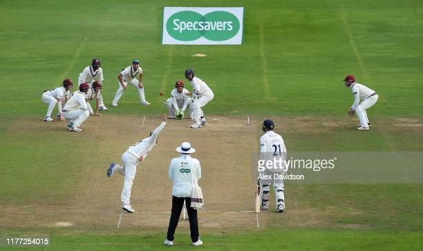 A general view as Jack Leach of Somerset bowls during Day Four of the Specsavers County Championship Division One match between Somerset and Essex at...