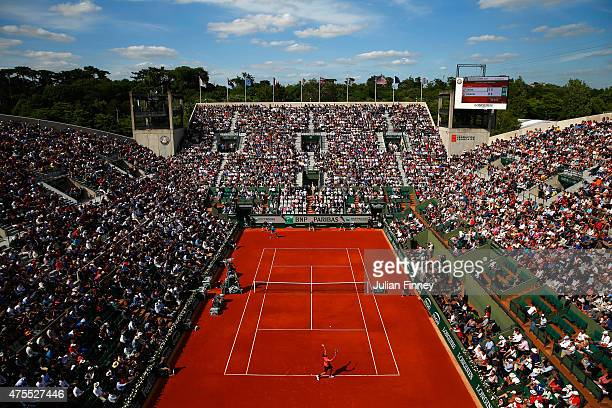 A general view as Jack Sock of the United States serves his Men's Singles match against Rafael Nadal of Spain on day nine of the 2015 French Open at...