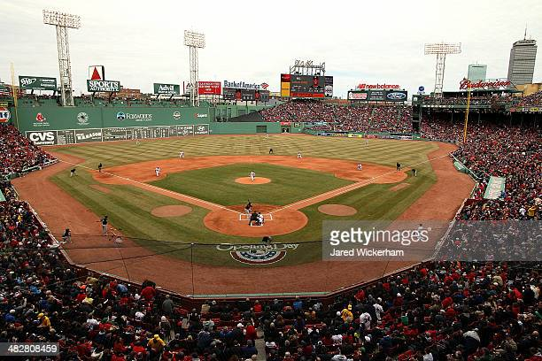 General view as Jake Peavy of the Boston Red Sox pitches against the Milwaukee Brewers in the first inning during the Opening Day game at Fenway Park...