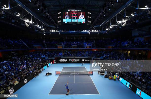 A general view as Jannik Sinner of Italy plays Mikael Ymer of Sweden during Day Two of the Next Gen ATP Finals at Allianz Cloud on November 06 2019...