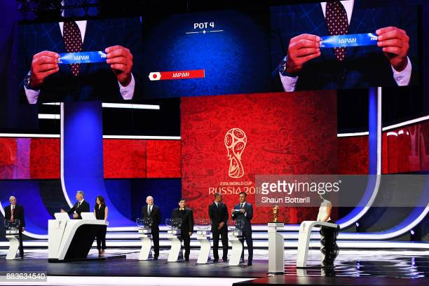 A general view as Japan is drawn during the Final Draw for the 2018 FIFA World Cup Russia at the State Kremlin Palace on December 1 2017 in Moscow...