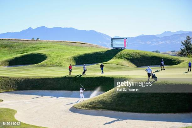 General view as Jason Norris of Australia plays a bunker shot during day one of the New Zealand Open at The Hills on March 9 2017 in Queenstown New...