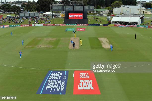 General view as Jason Sangha of Australia bats during the ICC U19 Cricket World Cup Final match between Australia and India at Bay Oval on February 3...