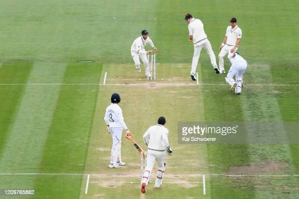 General view as Jasprit Bumrah of India is run out during day three of the Second Test match between New Zealand and India at Hagley Oval on March 02...