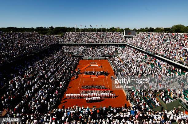 A general view as Jelena Ostapenko of Latvia is awarded the trophy following victory in the ladies singles final match against Simona Halep of...