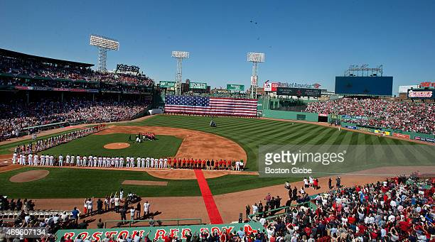 General view as jets from the 'Green Mountain Boys' of Vermont are pictured during the pregame ceremonies on Opening Day at Fenway Park