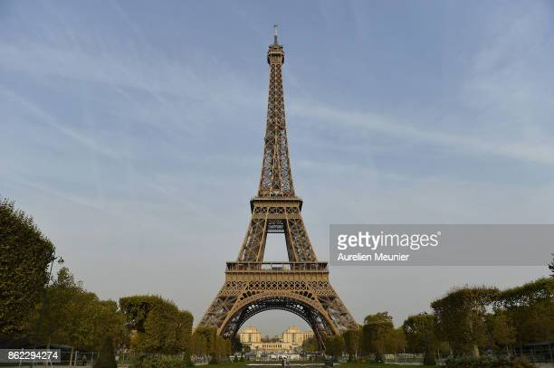 A general view as Jim Furyk Captain of The United States and Thomas Bjorn Captain of Europe tee off from a platform on the Eiffel Tower during the...