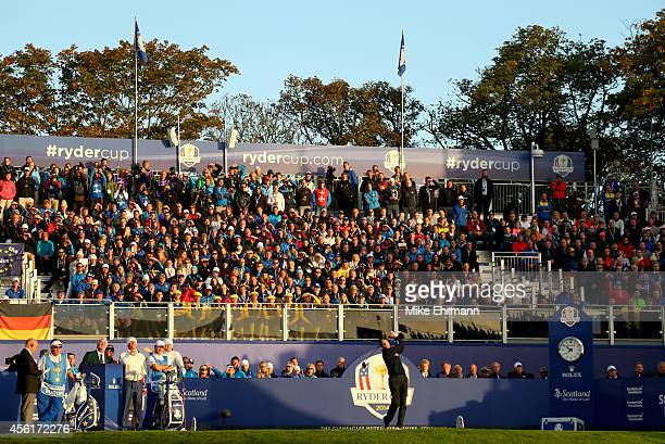 General view as Jim Furyk of the United States tees off on the 1st hole during the Morning Fourballs of the 2014 Ryder Cup on the PGA Centenary...