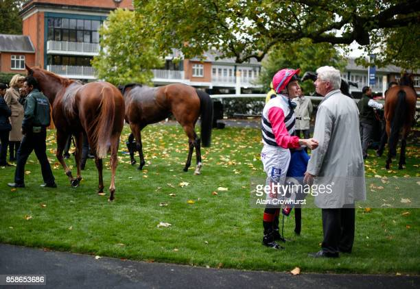 A general view as jockey Fran Berry chats with connections after the race at Ascot racecourse on October 7 2017 in Ascot United Kingdom