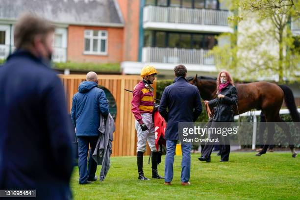 General view as jockey James Doyle chats about the race after unsaddling at Ascot Racecourse on May 08, 2021 in Ascot, England. Only owners are...