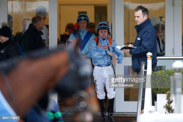 A general view as jockeys leave the weighing room at Chelmsford racecourse on February 23 2017 in Chelmsford England