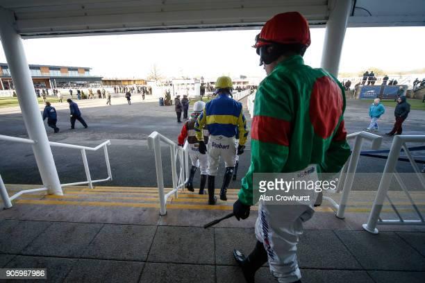 A general view as jockeys leave the weighing room at Newbury racecourse on January 17 2018 in Newbury England