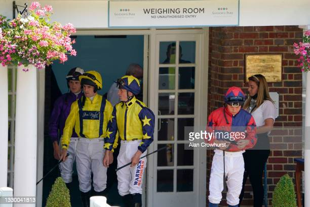 General view as jockeys leave the weighing room at Sandown Park Racecourse on July 22, 2021 in Esher, England.