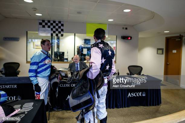 A general view as jockeys weigh in at Ascot Racecourse on February 17 2018 in Ascot England