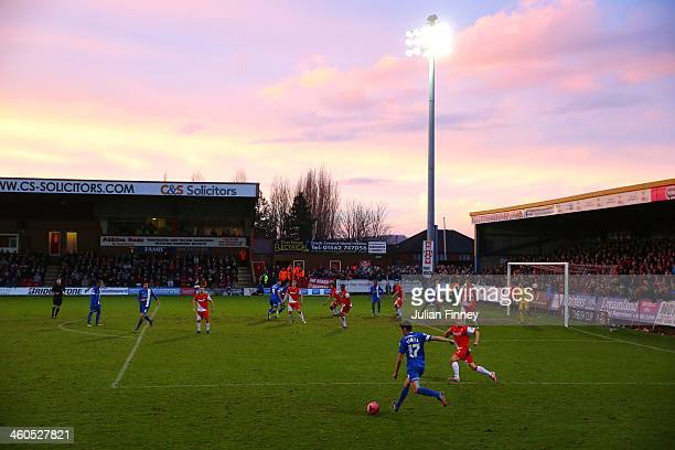 A general view as Joe Newell of Peterborough United crosses the ball during the Budweiser FA Cup third round match between Kidderminster Harriers and...