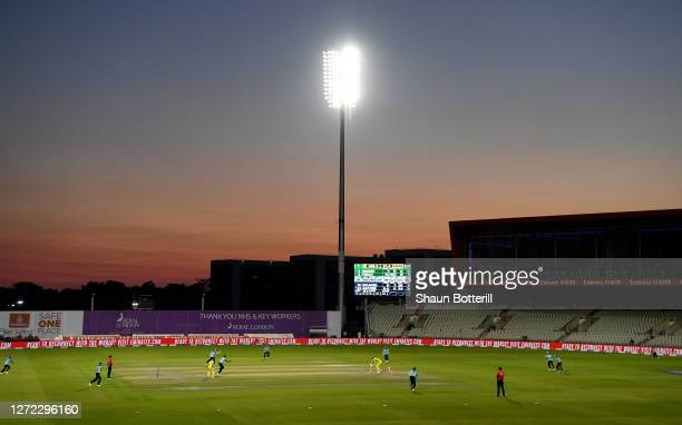 A general view as Jofra Archer of England bowls Mitchell Marsh of Australia during the 2nd Royal London One Day International Series match between...