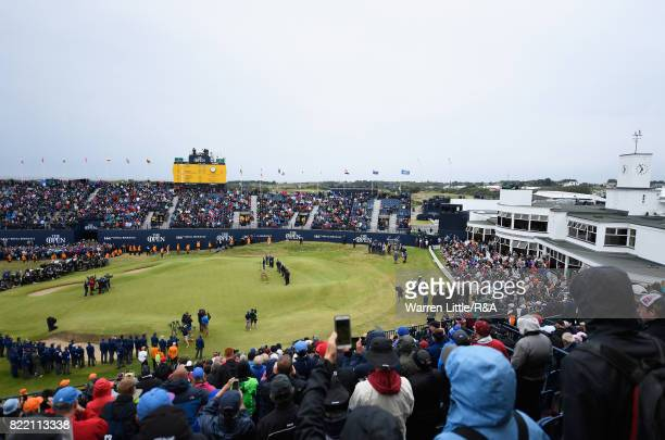 A general view as Jordan Spieth of the United States holds the Claret Jug and speaks to the crowd after winning the 146th Open Championship at Royal...