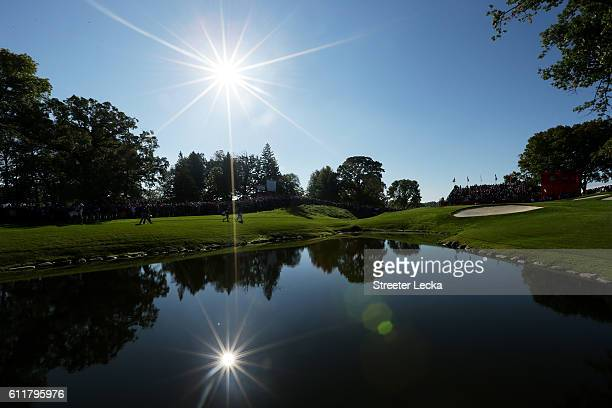 A general view as Jordan Spieth of the United States walks up the eighth hole during morning foursome matches of the 2016 Ryder Cup at Hazeltine...