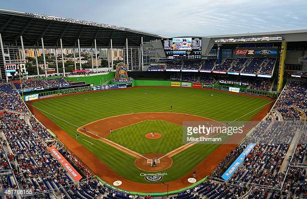 General view as Jose Fernandez of the Miami Marlins pitches during Opening Day against the Colorado Rockies at Marlins Park on March 31 2014 in Miami...