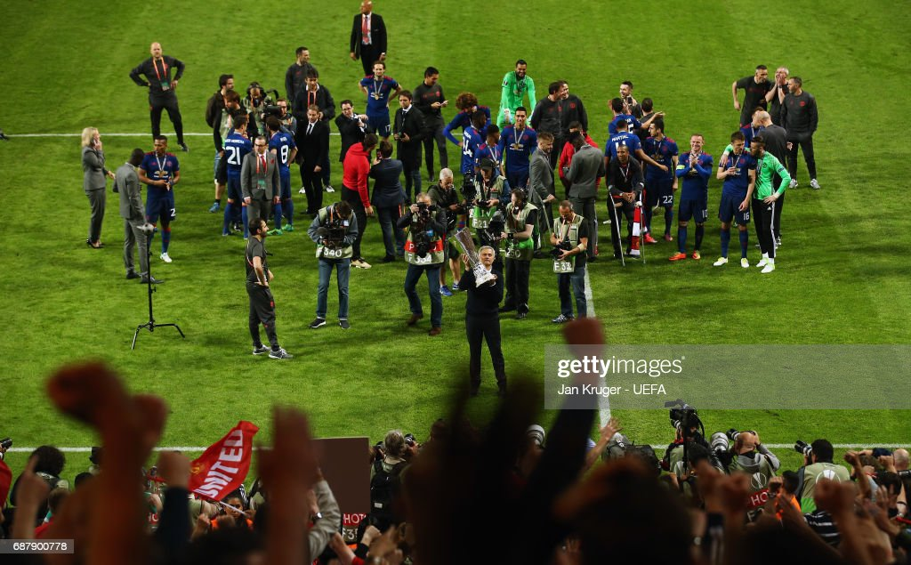 General view as Jose Mourinho, Manager of Manchester United shows appreciation to the fans after the UEFA Europa League Final between Ajax and Manchester United at Friends Arena on May 24, 2017 in Stockholm, Sweden.