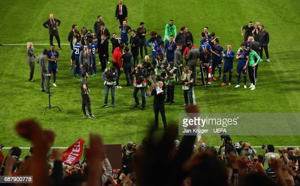 General view as Jose Mourinho Manager of Manchester United shows appreciation to the fans after the UEFA Europa League Final between Ajax and...