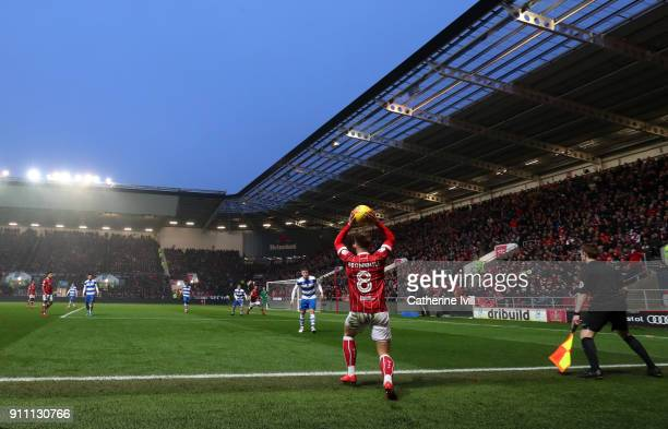 General view as Josh Brownhill of Bristol City takes a throw in during the Sky Bet Championship match between Bristol City and Queens Park Rangers at...