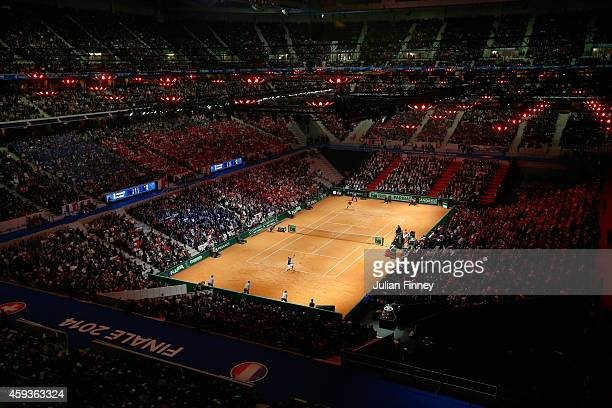 A general view as JoWilfried Tsonga of France is in action against Stanislas Wawrinka of Switzerland during day one of the Davis Cup Tennis Final...