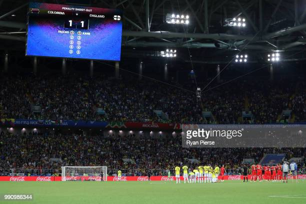 A general view as Juan Cuadrado of Colombia is about to score his team's second penalty in the penalty shoot out durinh the 2018 FIFA World Cup...