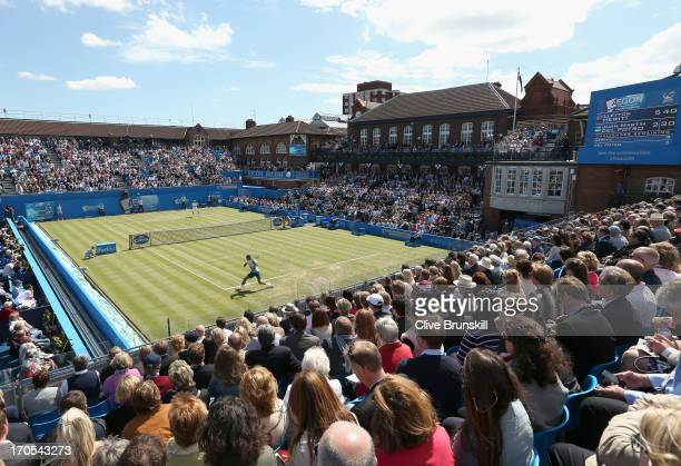 A general view as Juan Martin del Potro of Argentina hits a backhand shot during the Men's Singles quarter final round match against Lleyton Hewitt...