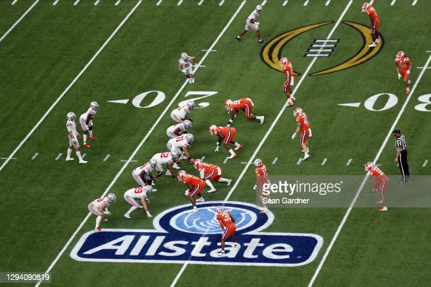 General view as Justin Fields of the Ohio State Buckeyes prepares to take a snap in the first half against the Clemson Tigers during the College...