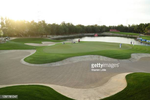 General view as Justin Thomas of the United States of America putts on the 12th green during Day 2 of the Abu Dhabi HSBC Championship at Abu Dhabi...