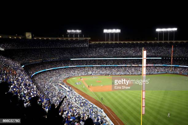 A general view as Justin Turner of the Los Angeles Dodgers hits a tworun home run during the sixth inning against the Houston Astros in game one of...