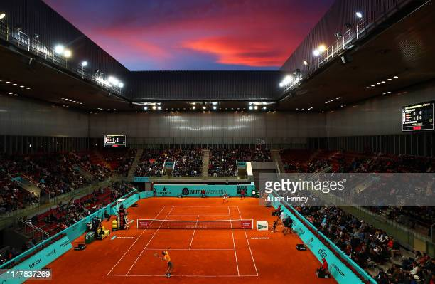 A general view as Karen Khachanov of Russia serves to Fernando Verdasco of Spain during day five of the Mutua Madrid Open at La Caja Magica on May 08...