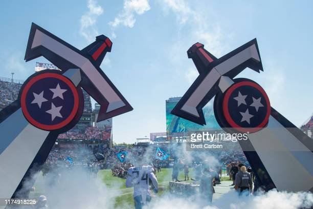 General view as Kenny Vaccaro of the Tennessee Titans runs onto the field before the game against the Indianapolis Colts at Nissan Stadium on...