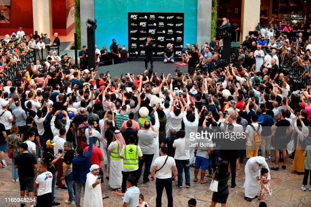 A general view as Khabib Nurmagomedov of Russia interacts with fans during the UFC 242 Open Workouts at Yas Mall on September 4 2019 in Abu Dhabi...