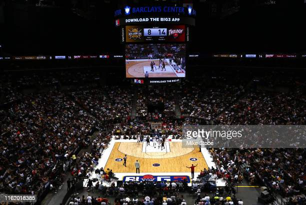 General view as Killer 3s take on Trilogy during week four of the BIG3 three-on-three basketball league at Barclays Center on July 14, 2019 in the...