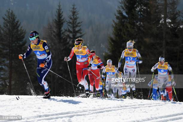 A general view as Krista Parmakoski of Finland Heidi Weng of Norway and Frida Karlsson of Sweden compete in the Cross Country Skiathlon Ladies 15k...