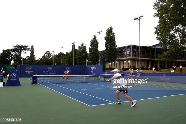 A general view as Kyle Edmund and partner Emma Raducanu of British Bulldogs play in their mixed doubles match against Andy Murray and Naomi Broady of...