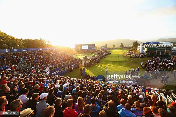 A general view as Lee Westwood of Europe tees off on the 1st hole during the Morning Fourballs of the 2014 Ryder Cup on the PGA Centenary course at...