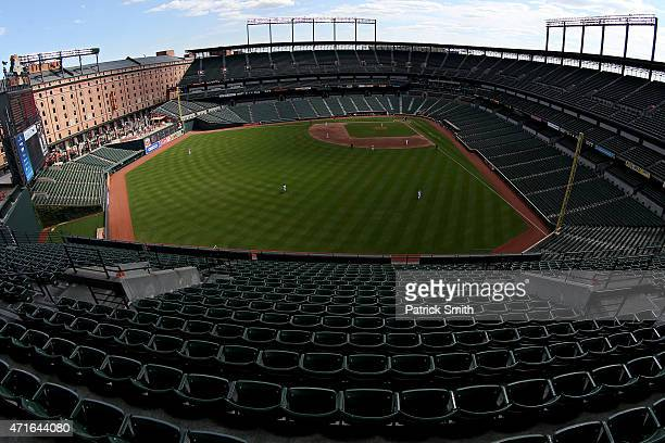 General view as left fielder Alejandro De Aza of the Baltimore Orioles makes a catch on a hit by Adam Eaton of the Chicago White Sox in the sixth...