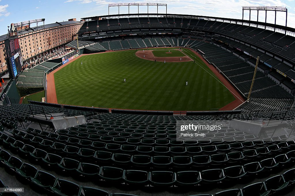 General view as left fielder Alejandro De Aza #12 of the Baltimore Orioles makes a catch on a hit by Adam Eaton #0 of the Chicago White Sox in the sixth inning at an empty Oriole Park at Camden Yards on April 29, 2015 in Baltimore, Maryland. Due to unrest in relation to the arrest and death of Freddie Gray, the two teams played in a stadium closed to the public. Gray, 25, was arrested for possessing a switch blade knife April 12 outside the Gilmor Houses housing project on Baltimore's west side. According to his attorney, Gray died a week later in the hospital from a severe spinal cord injury he received while in police custody.