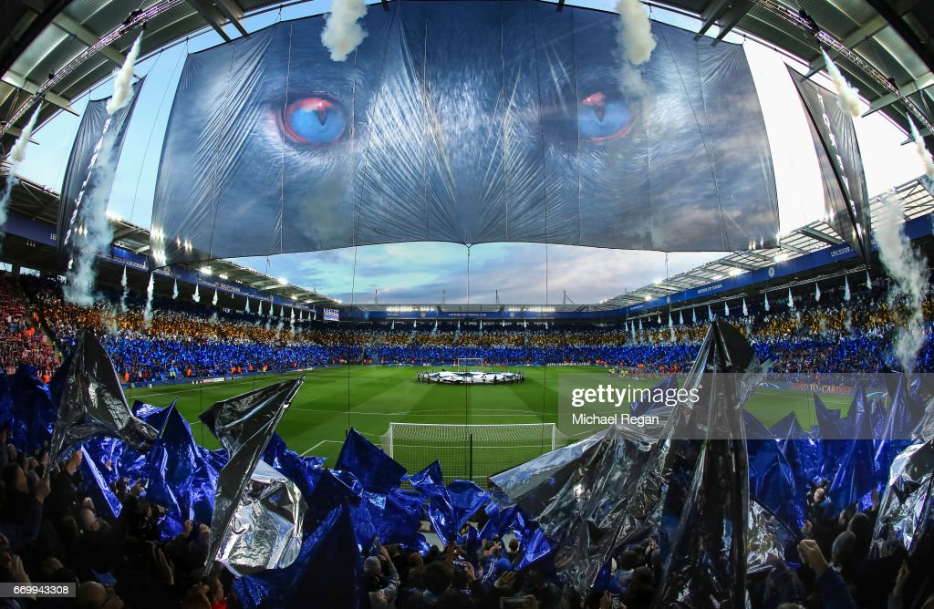 A general view as Leicester fans enjoy the atmosphere prior to the UEFA Champions League Quarter Final second leg match between Leicester City and Club Atletico de Madrid at The King Power Stadium on April 18, 2017 in Leicester, United Kingdom.