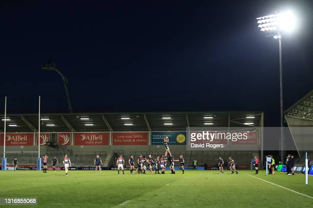 General view as Leicester win a lineout during the Gallagher Premiership Rugby match between Sale Sharks and Leicester Tigers at AJ Bell Stadium on...